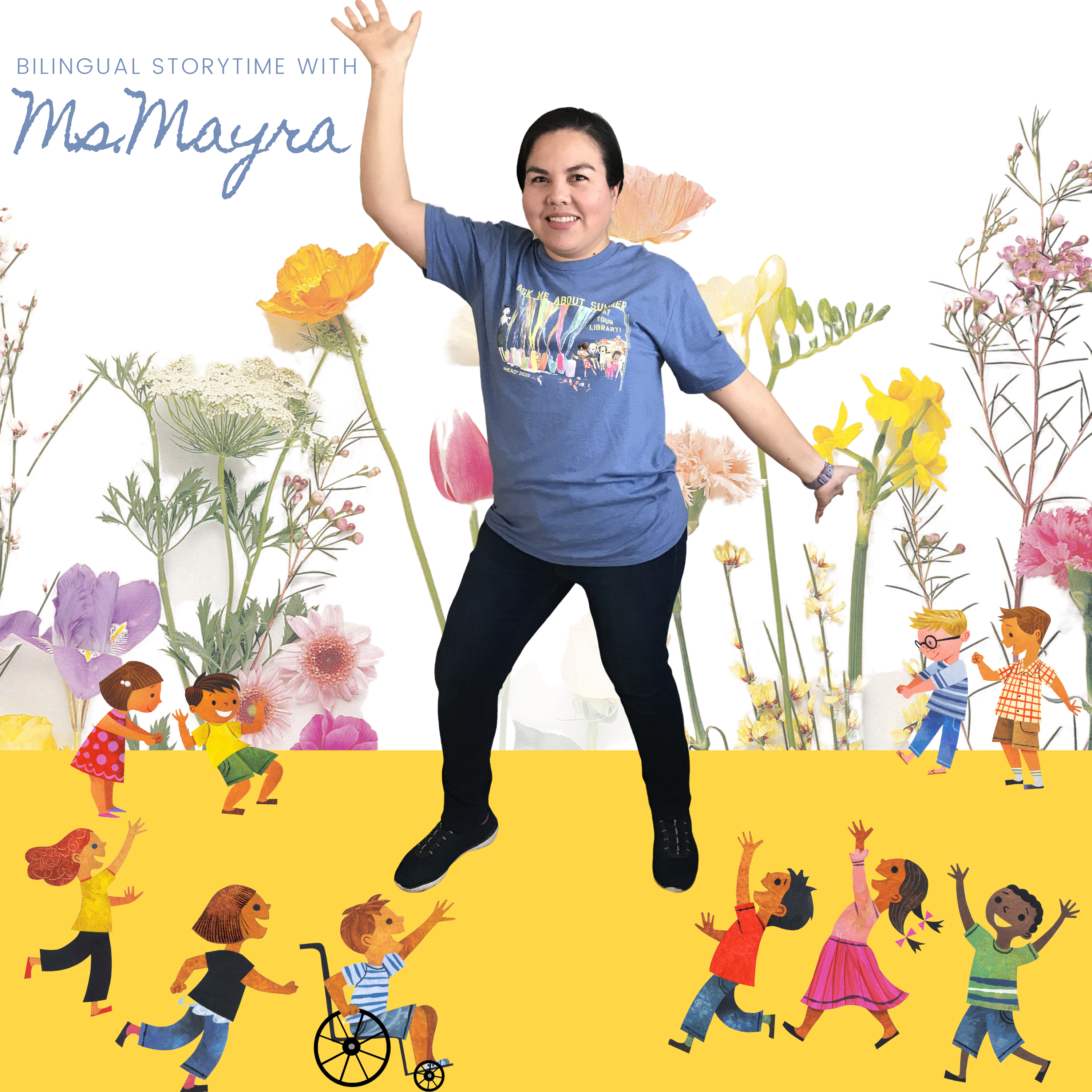 image shows woman standing and smiling amidst a computerized field of wildflowers and cartoon children