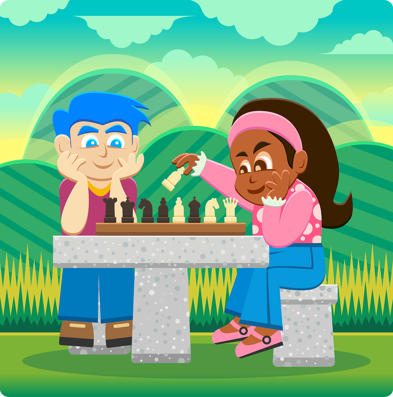 Illustration of children playing chess.