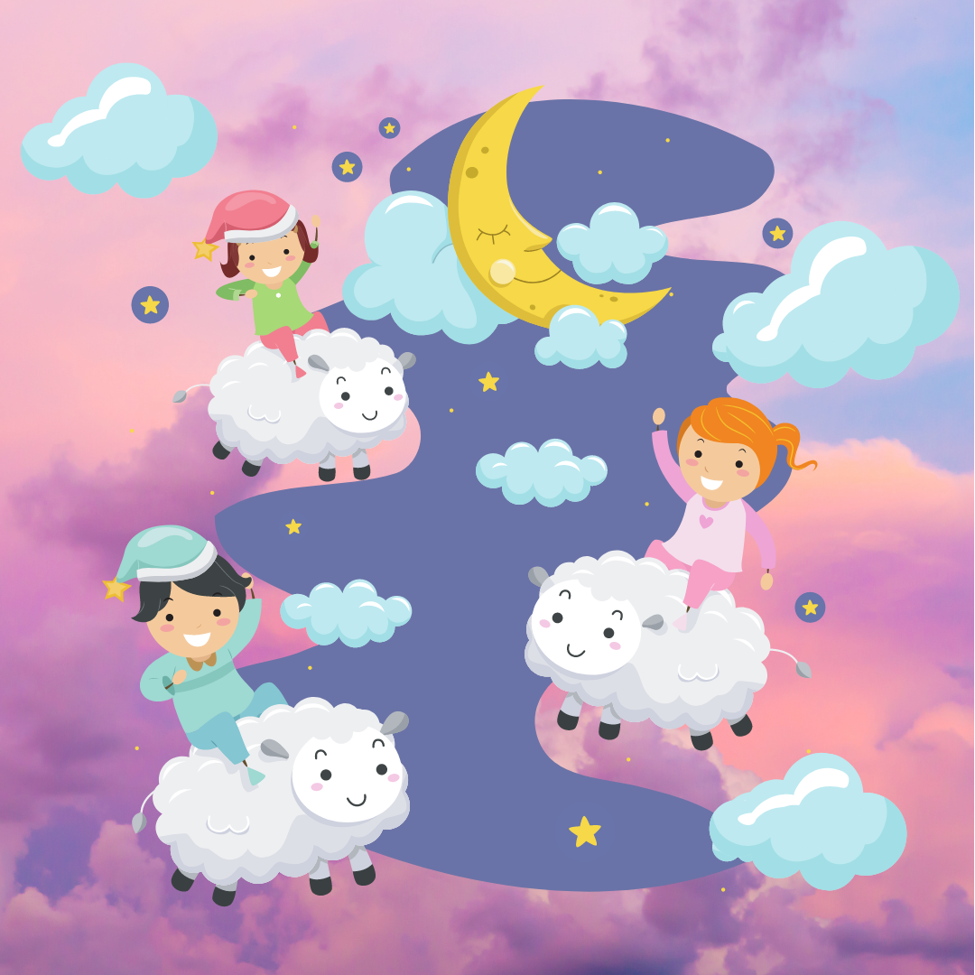 pink fluffy clouds with illustrated children on flying fluffy sheep with clouds and a crescent moon