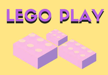 Yellow background with purple lettering that says Lego Play and yellow and purple Lego brick