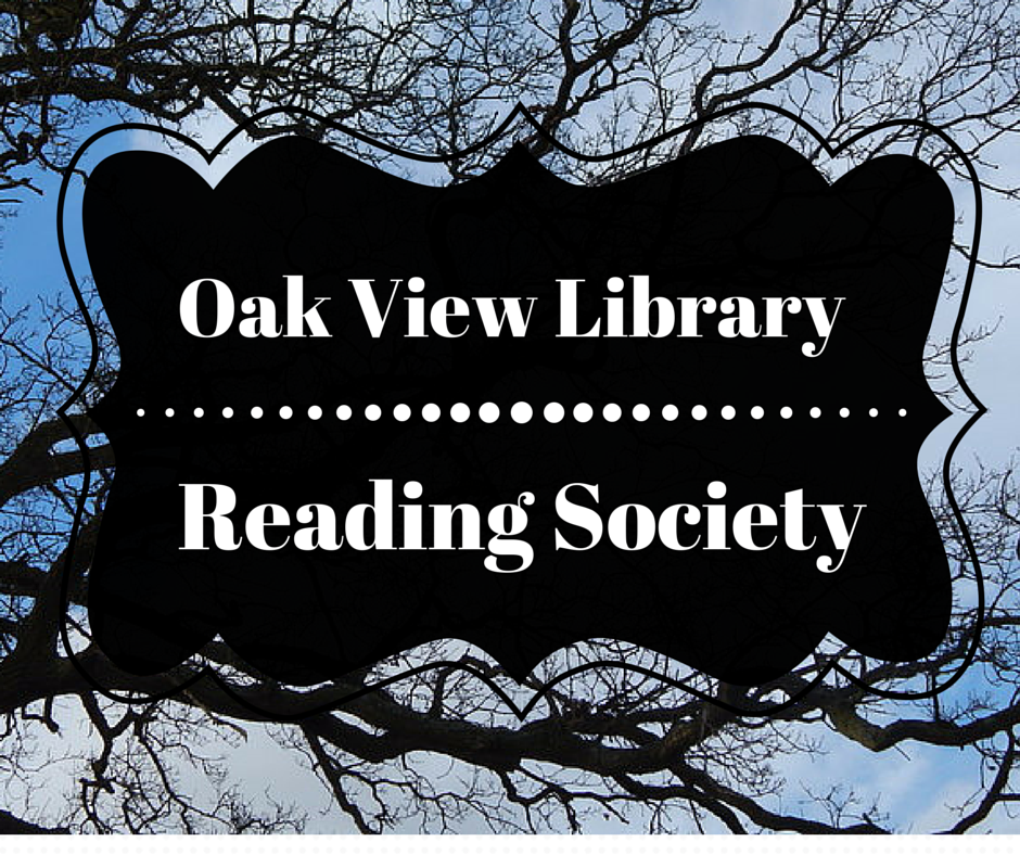 Background of oak tree branches and blue sky with the name of the reading society centered in white text on a field of black.