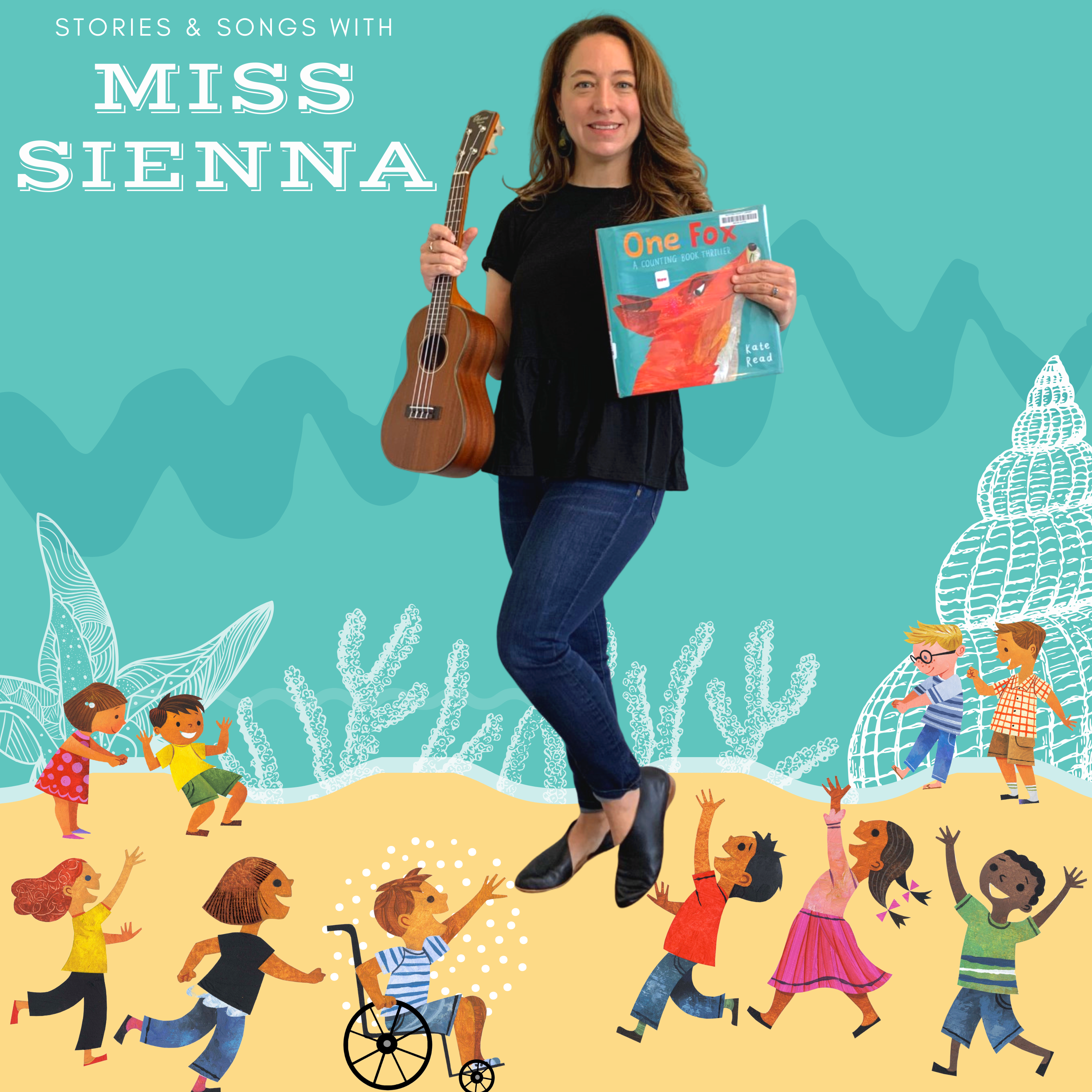 image depicts woman holding ukulele and picturebook against a cartoon sea. cartoon children run everywhere.