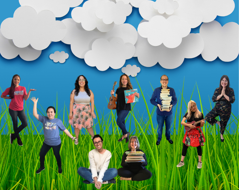 Ventura County Library staff photos on a background of blue sky, white clouds, and green grass.