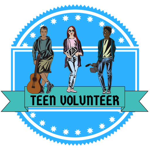 """""""Teen volunteer"""" badge like a blue ribbon. Three teens holding various items of interest: guitar, tablet, and camera."""