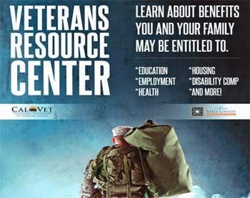 Flyer for Veterans Resource Center, info below.