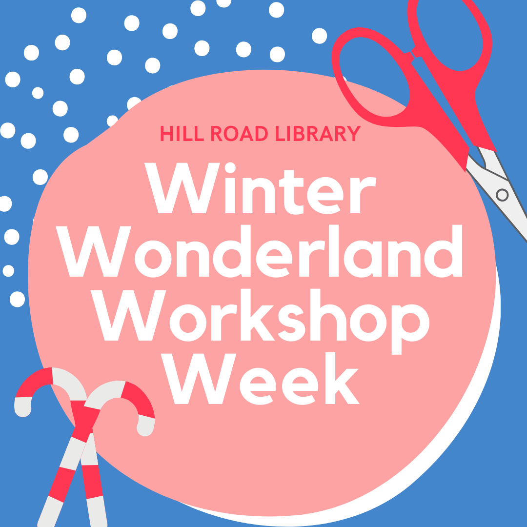 infographic showing title of event. Includes snow, a pair of scissors, and candy canes.