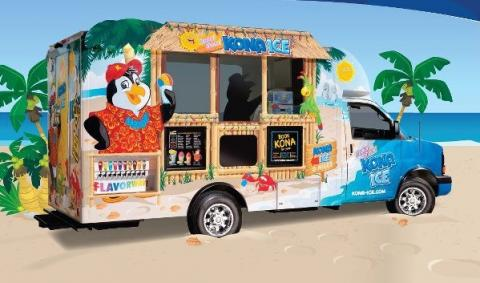 shaved ice truck with cartoon penguin on the side, parked on a beach