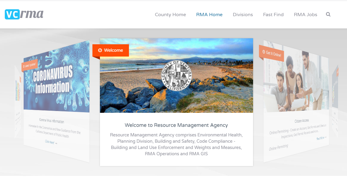 screenshot of Ventura County Resource Management Agency website at vcrma.org