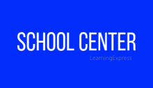 "Blue rectangle white words read ""School Center"""