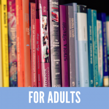 Colorful books for adult readers on a library shelf