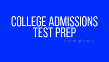 "Blue rectangle white words read ""College Admissions Test Prep"""
