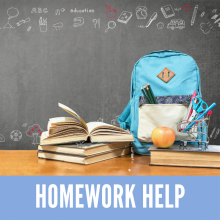 Homework Help - School desk in front of a chalkboard with a blue backpack, books, and an apple