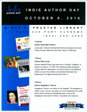 Indie Authors at Prueter Library Oct 8
