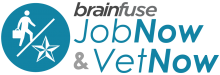 brainfuse JobNow & VetNow - person walking with a briefcase forward-slash a military award star