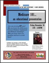 Medicare 101 at Prueter Library Friday November 30th, 1 to 2 pm